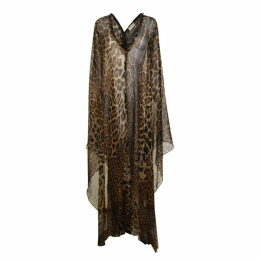 Saint Laurent Leopard Print Sheer Kaftan