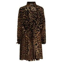Saint Laurent Silk Leopard Print Dress