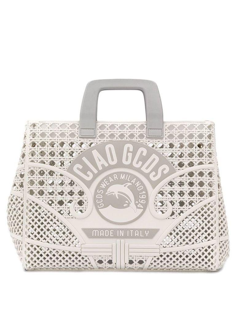 Gcds Ciao logo tote bag - White