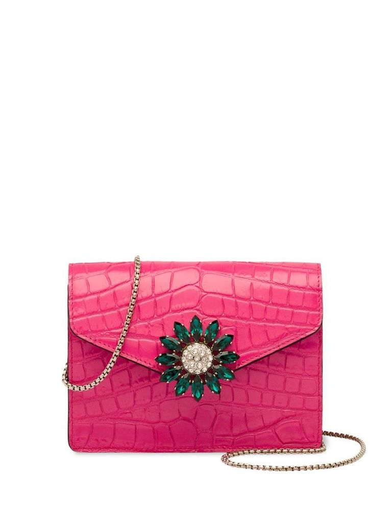 Miu Miu crocodile-effect patent leather mini shoulder bag - Pink