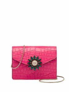 Miu Miu crocodile-effect patent leather mini shoulder bag - Pink