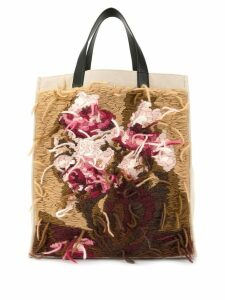Ports V floral knit patch tote - Brown