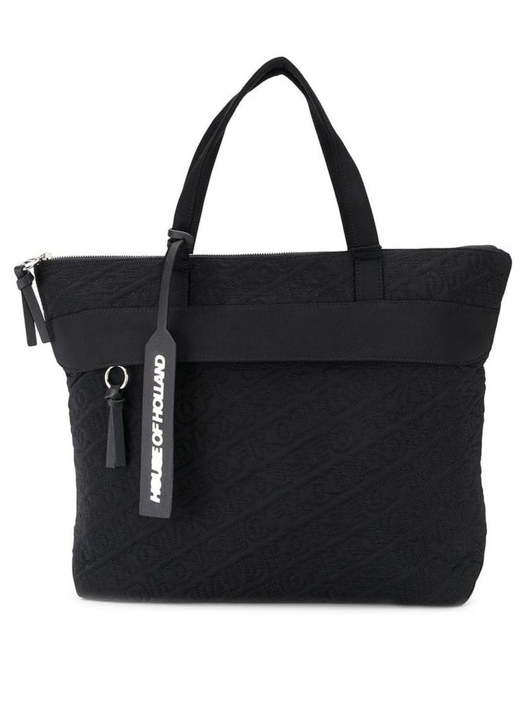 HOUSE OF HOLLAND embroidered logo tote - Black