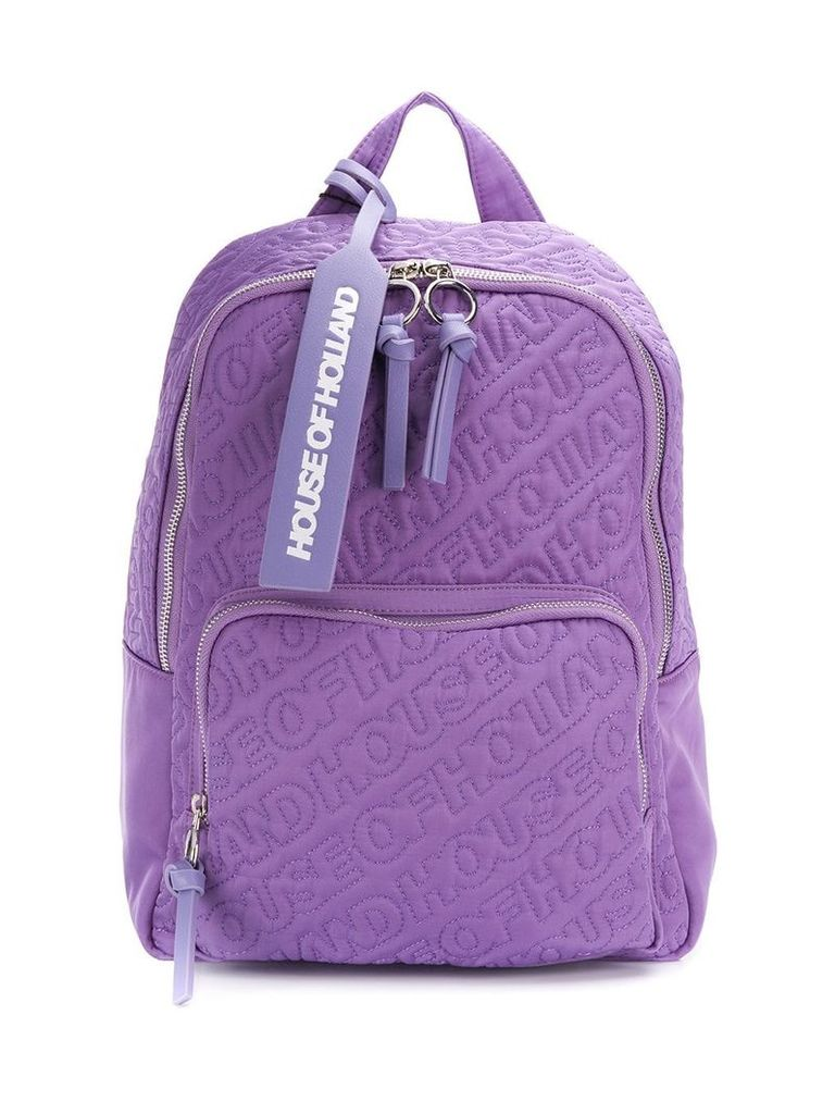 HOUSE OF HOLLAND embroidered logo backpack - Purple