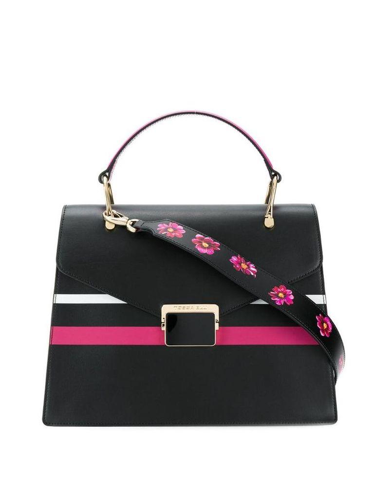Tosca Blu striped box shoulder bag - Black