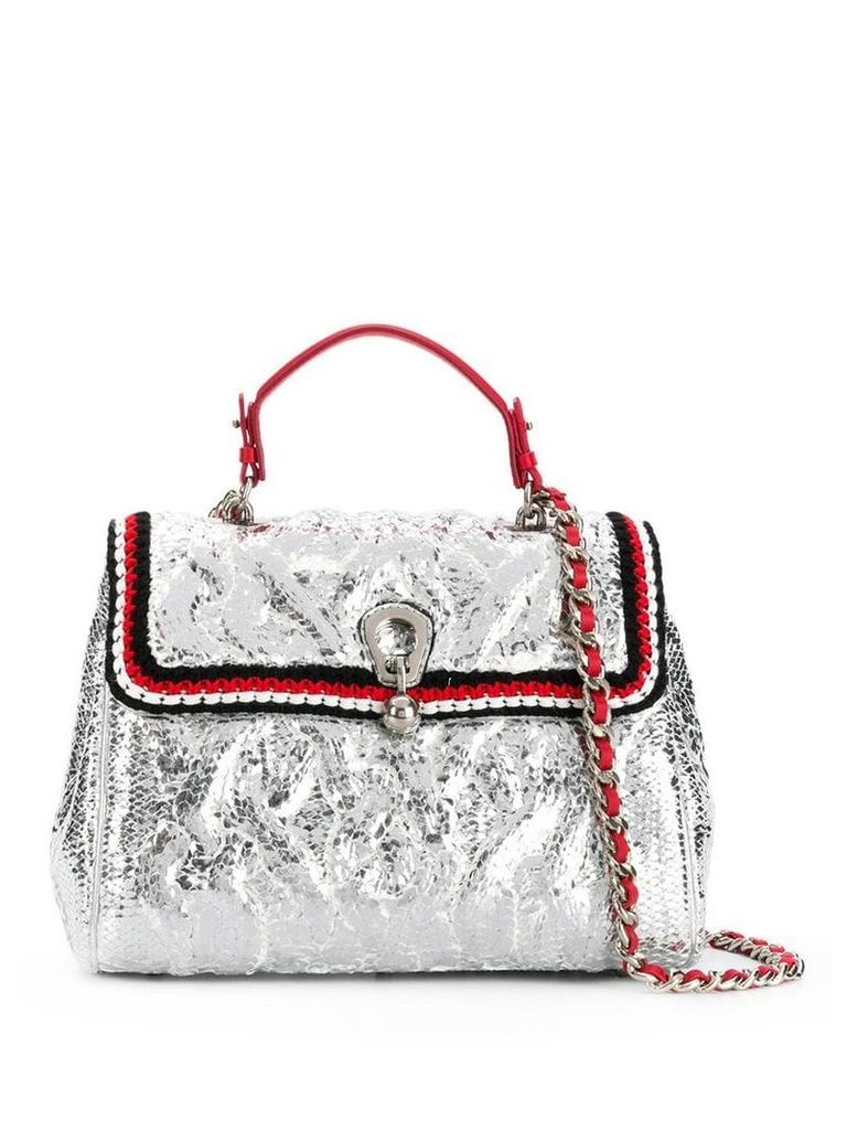 Ermanno Scervino metallic foldover shoulder bag - Silver