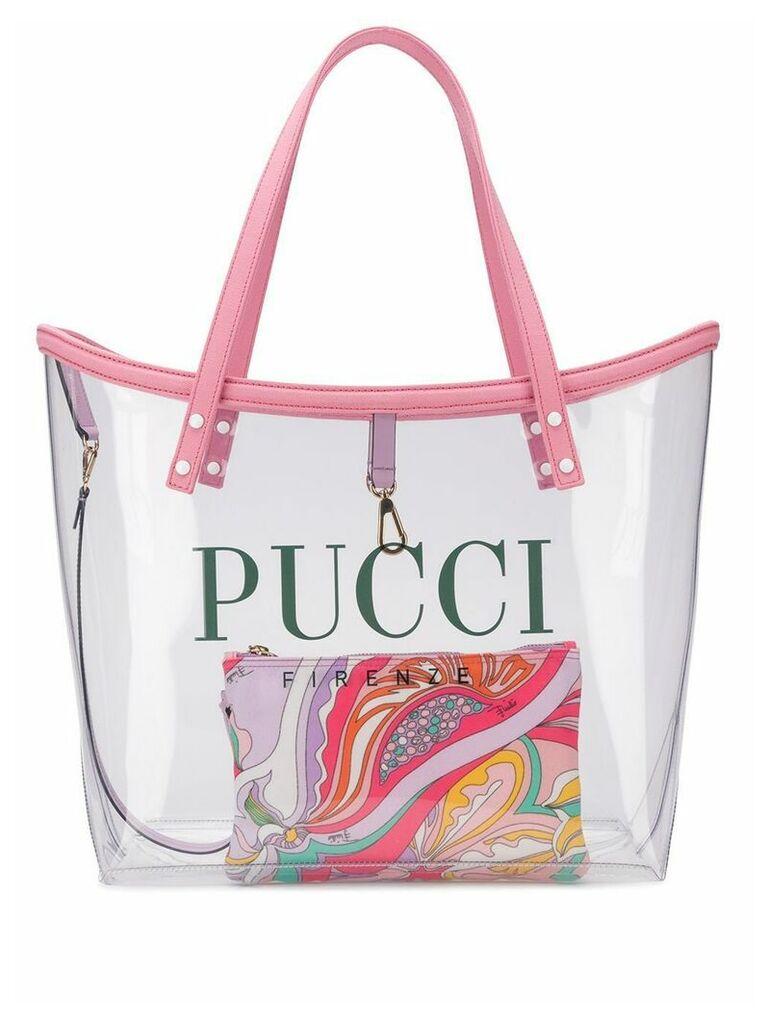 Emilio Pucci Transparent Logo Twist Tote - Neutrals