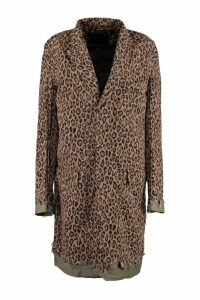 R13 Leopard Print Cotton Swing Coat