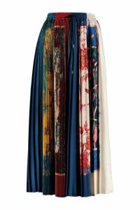 Salvatore Ferragamo Printed Silk Pleated Skirt