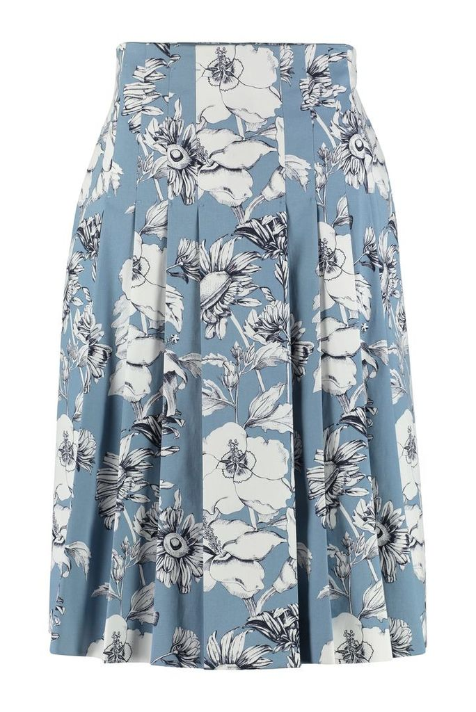 Max Mara Studio Fulmine Printed Cotton Pleated Skirt