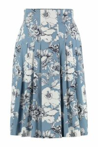 Max Mara Studio Fulmine Printed Cotton Pleated Skirt