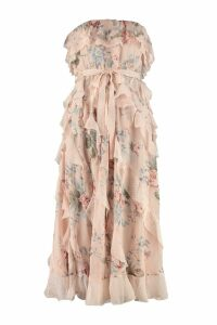 Zimmermann Bowie Waterfall Silk Midi Dress In Floral Print