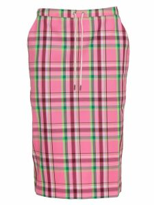 Essentiel Antwerp Orange Plaid Straight Skirt In Pink