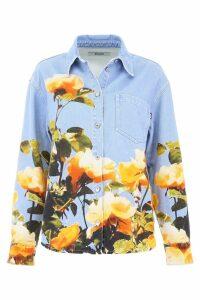 MSGM Rose Print Denim Shirt