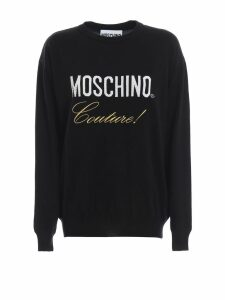 Moschino Logo Intarsia Black Wool Sweater
