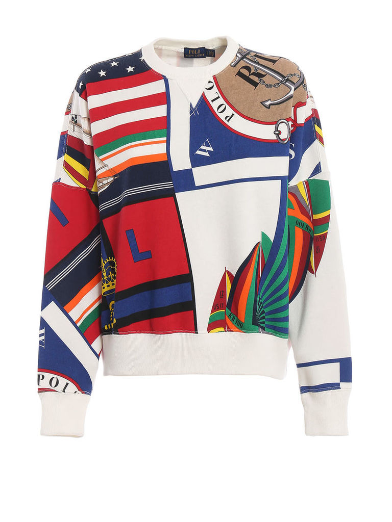 Polo Ralph Lauren Printed Oversized Cotton Sweatshirt