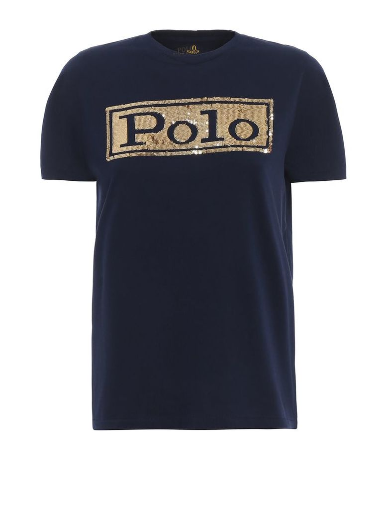 Polo Ralph Lauren Sequinned Blue Cotton T-shirt