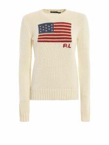 Polo Ralph Lauren American Flag Intarsia White Crewneck