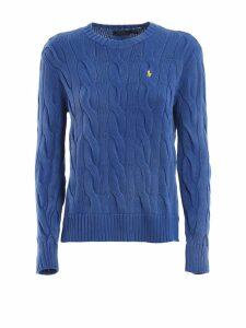 Polo Ralph Lauren Cable Knit Melange Blue Cotton Sweater