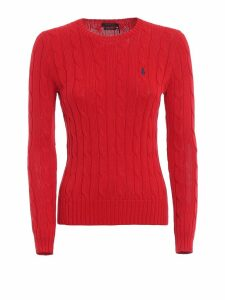 Polo Ralph Lauren Red Twist Knit Cotton Sweater