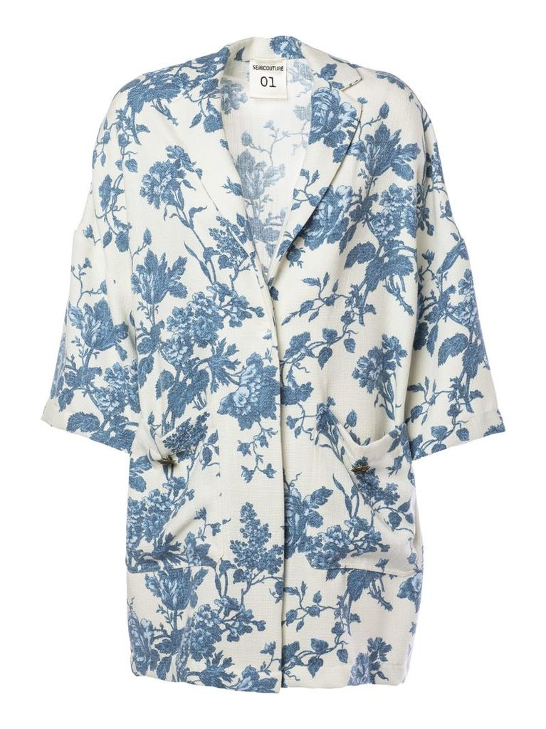 Semicouture Floral Print Coat