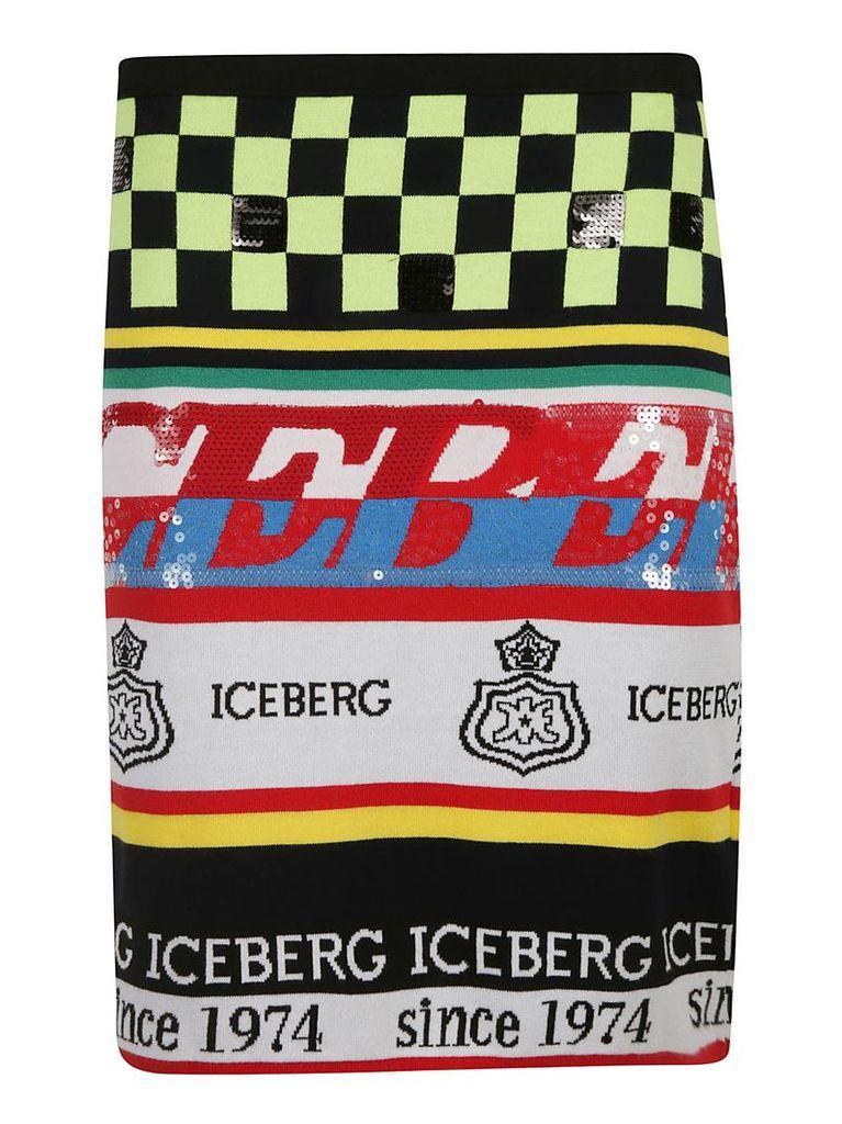 Iceberg Pattern Logo Skirt