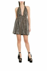 Saint Laurent Backless And Draped Lurex Jersey Mini Dress