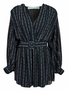 Off-White Pinstripe Belted Dress