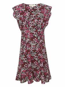 Michael Kors Floral Crepe Ruffled Dress
