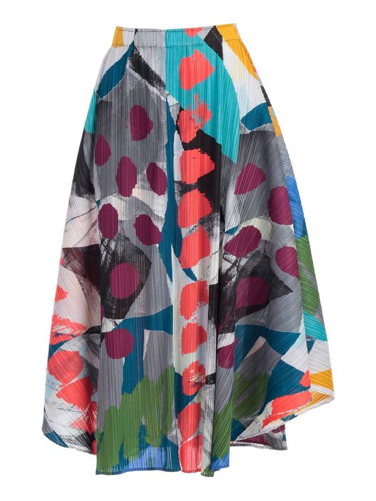 Pleats Please By Issey Miyake Abstract Print Drape Skirt