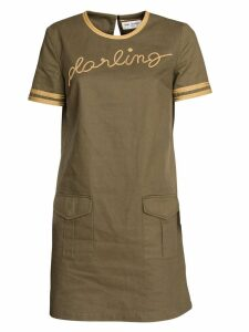 Saint Laurent Dress In Cotton And Linen Gabardine, With Darling Embroidery In Green