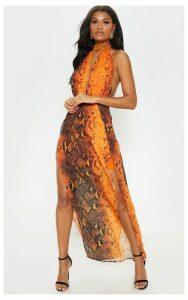 Leala Orange Snake Print Maxi Dress, Orange