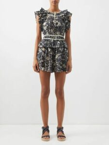 Mara Hoffman - Nami Plissé Voile Maxi Dress - Womens - Blue