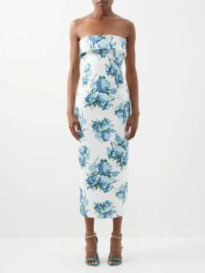 Cult Gaia - Gia Leaf Print Linen Midi Dress - Womens - Blue Print
