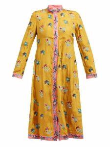 Le Sirenuse, Positano - Sultana Floral Embroidered Silk Dress - Womens - Yellow Multi