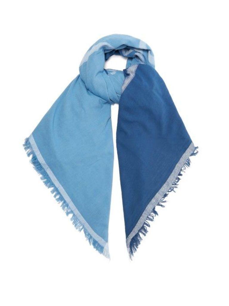 Acne Studios - Logo Jacquard Ombré Cotton Blend Scarf - Womens - Blue