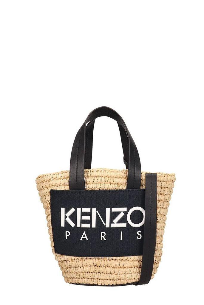 Kenzo Black Braided Fabric Small Summer Basket Bag
