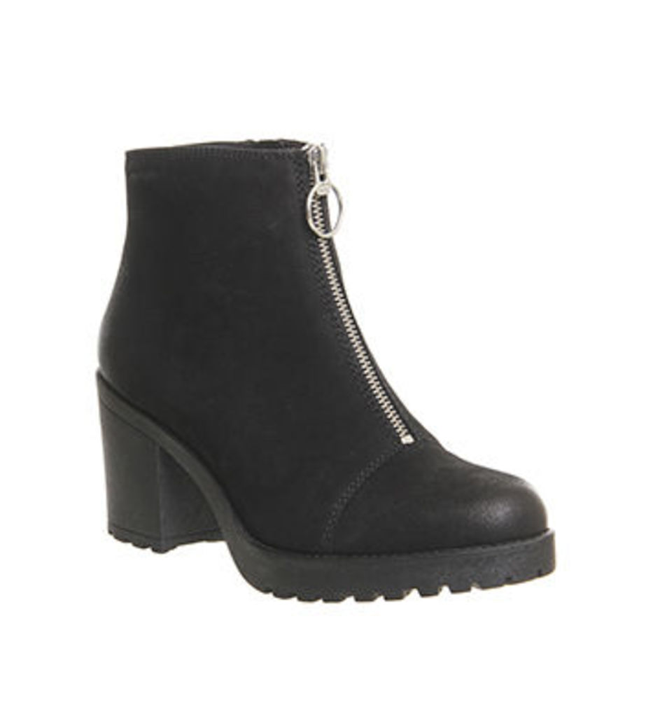 Vagabond Grace Front Zip Boot BLACK NUBUCK