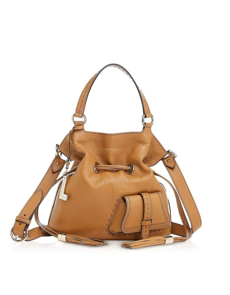 Lancel Premiere Medium Camel Leather Bucket Bag
