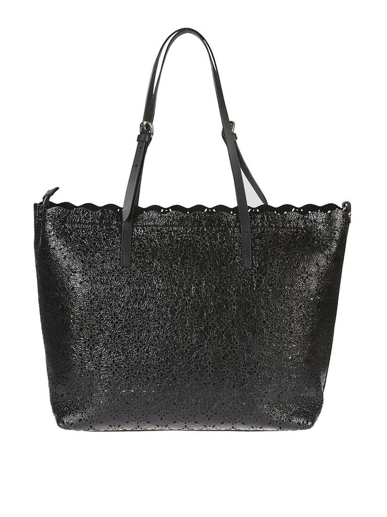 Ermanno Scervino Perforated Floral Tote