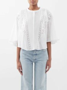 Rianna + Nina - Luisa Geometric Print Cotton Midi Skirt - Womens - Red Multi