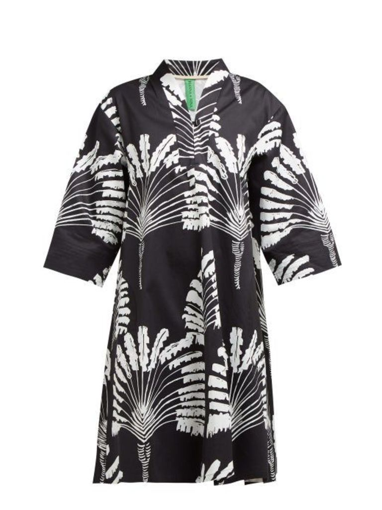 Rianna + Nina - Emmi Palm Print Cotton Twill Dress - Womens - Black White
