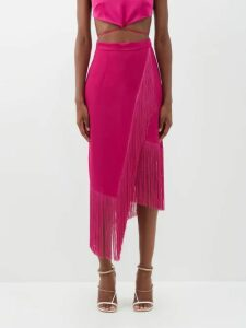 Loewe - Contrasting Stripe Print Cotton Blend Skirt - Womens - Navy White