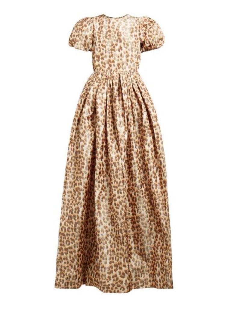 Rochas - Leopard Print Puff Sleeve Taffeta Gown - Womens - Leopard