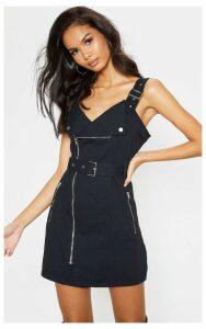 Black Belted Popper Collar Denim Dress, Black