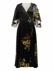 Adriana Iglesias - Floral Print Silk Blend Robe Dress - Womens - Black White
