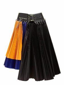 Chopova Lowena - Pleated Colour Block Asymmetric Mini Skirt - Womens - Multi