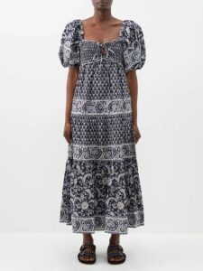 Vita Kin - Flowering Ivy Linen Voile Midi Dress - Womens - Blue Multi