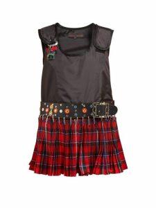 Chopova Lowena - Technical Shell And Wool Mini Dress - Womens - Black Multi