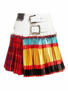 Chopova Lowena - Leather Belted Mixed Print Pleated Skirt - Womens - Multi